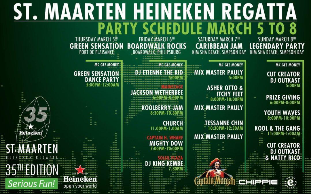 St.Maarten Heineken Regatta Preparing for the Ultimate Green Sensation Party this evening