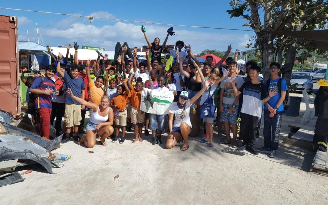 60 children participated in the St. Maarten Regatta Beach Clean-Up